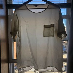 Uniqlo relaxed boxy silk pocket top size large